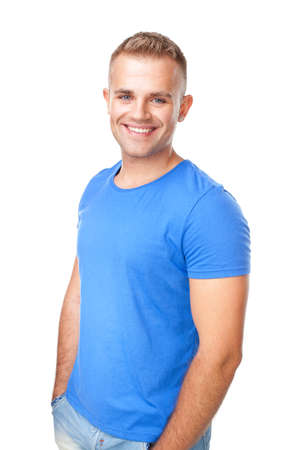 Portrait of happy smiling man standing isolated on white background photo