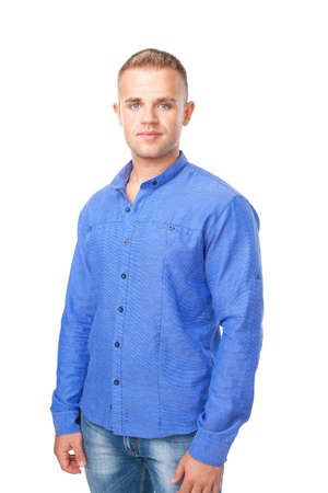 only 1 man: Portrait of smiling young man wearing a blue shirt isolated on white background