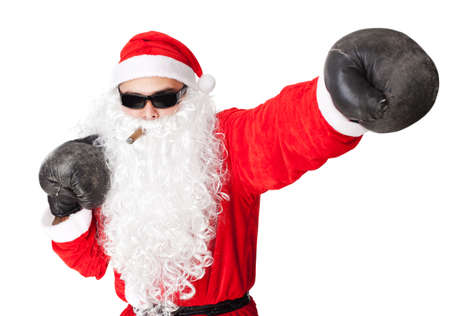 Santa Claus wearing sunglasses with boxing glove smoking a cigar isolated on white background  Stock Photo