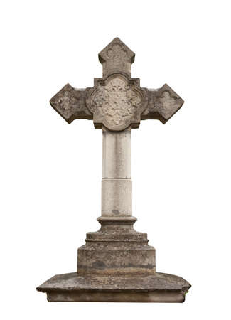 tombstone: stone cross isolated on white background