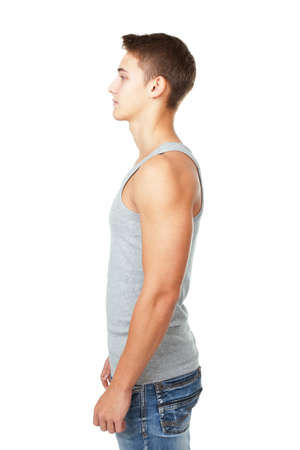only young adults: side view portrait of young man isolated on white background