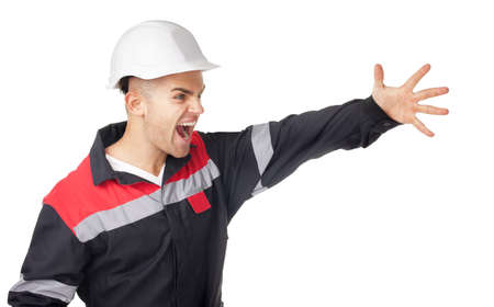 negligence: Portrait of young engineer shouts having raised a hand isolated on white background Stock Photo