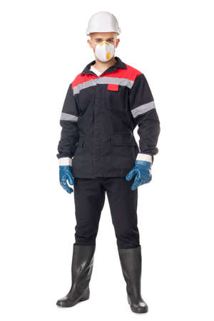 Full length portrait of young worker wearing safety protective gear isolated on white background Stock Photo