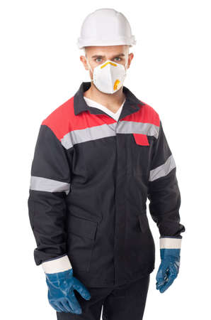 dust mask: Portrait of young worker wearing safety protective gear isolated on white background