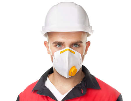 respirator: Portrait of young worker wearing safety protective gear isolated on white background