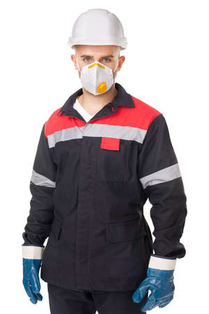 Portrait of young worker wearing safety protective gear isolated on white background