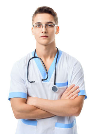 serious doctor: Portrait of serious young doctor with stethoscope isolated on white background Stock Photo