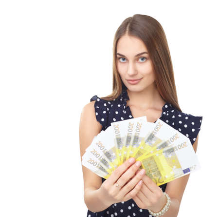 Portrait of young beautiful smiling woman holding euro banknotes money isolated on white background Stock Photo - 27292718