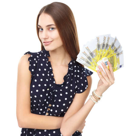 Portrait of young beautiful smiling woman holding euro banknotes money isolated on white background photo