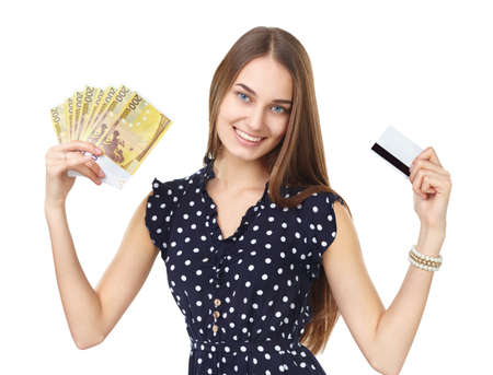 Portrait of young beautiful smiling woman holding euro banknotes money and credit card isolated on white background Stock Photo - 27292723