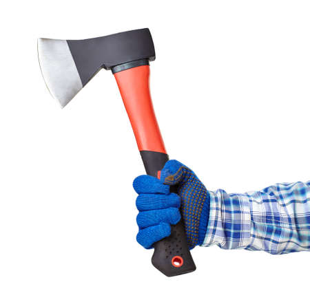 trees services: Working hand with protection glove holding axe isolated on white background