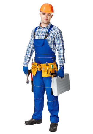tools belt: Full length portrait of young male construction worker wearing tool belt with toolbox isolated on white background
