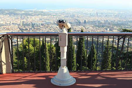 tibidabo: Coin operated binoculars overlooking Barcelona from mountain Tibidabo