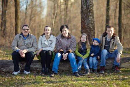 family reunion: Big happy family portrait sitting on a big log in early spring park