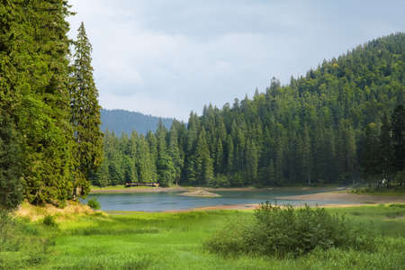 non urban scene: Summer landscape in mountains. Sinevir lake in the Carpathian Mountains. Ukraine, Europe Stock Photo