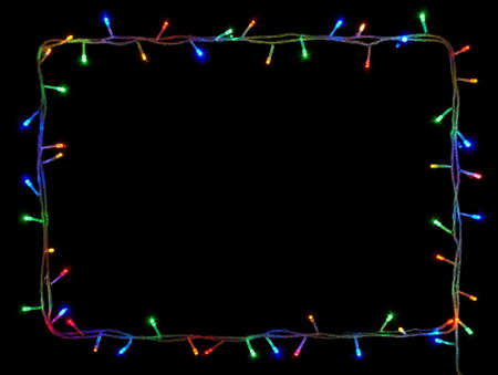 christmas lights frame on black background with copy spacedecorative garland stock photo 32467115 - Christmas Lights Frame