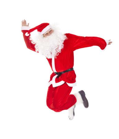 botas de navidad: Saltando de Santa Claus, aislado en fondo blanco Foto de archivo