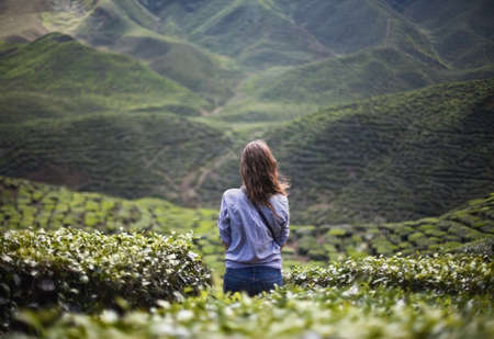 lonely girl in mountains