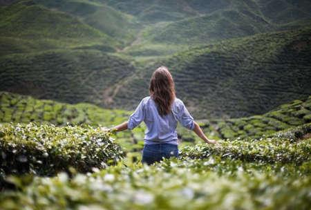 山で孤独な少女 写真素材