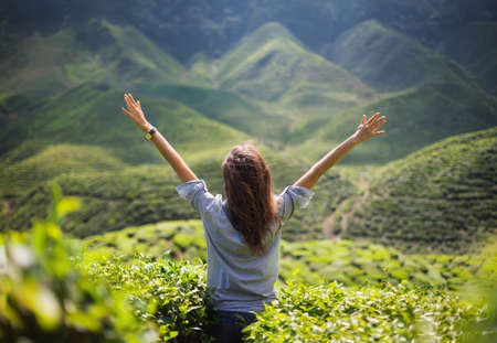 freedom girl with hands up in mountains Standard-Bild