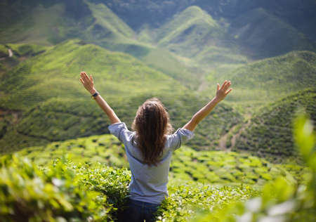 freedom girl with hands up in mountains Foto de archivo