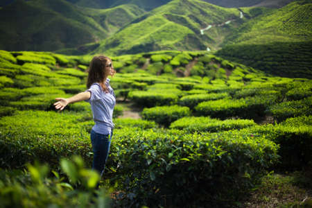 freedom nature: freedom girl in mountains on tea plantation