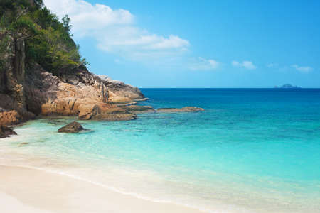 perhentian: Idyllic tropical white sand beach and sea on a sunny summer day. Perhentian Kecil island Malaysia. Stock Photo