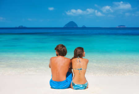 Young couple on the paradise beach