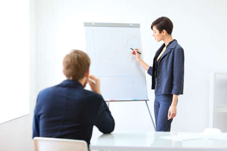 business conference: Businesswoman presenting new project to partners in the office