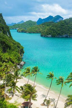 ang: Paradise beach on tropical island. Ang Thong National Marine Park,Thailand. Top view