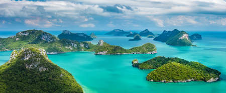 Tropical group of islands in Ang Thong National Marine Park, Thailand. Top view.  Panorama landscape.