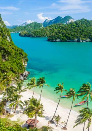 열 대 섬 파라다이스 비치입니다. 앙 통 국립 공원, 태국. 평면도