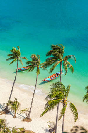 beach view: Paradise beach on tropical island. Ang Thong National Marine Park,Thailand. Top view