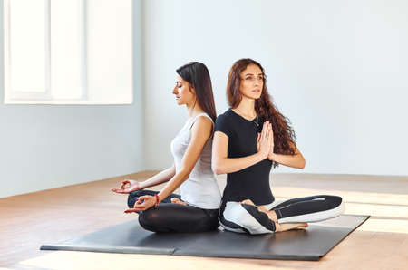 anjali: Two young women practicing yoga in lotus position sitting back to back Stock Photo