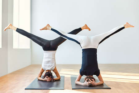 Two young women doing yoga asana open angle pose in headstand. Upavistha Konasana in Sirsasana