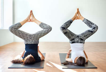 baddha: Two young women doing yoga asana bound angle shoulderstand pose. Baddha Konasana in Sarvangasana