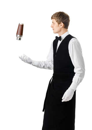 acrobatic: Bartender juggling with shaker and making cocktail isolated on white background