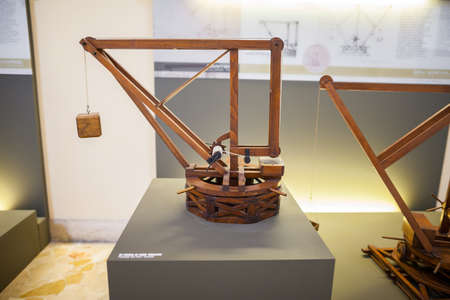 popular science: MILAN, ITALY - JUNE 9, 2016: models of Leonardo da Vincis scientific studies displayed at the Science and Technology Museum Leonardo da Vinci