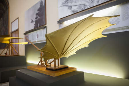 popular science: MILAN, ITALY - JUNE 9, 2016: beating wings models of Leonardo da Vincis scientific studies displayed at the Science and Technology Museum Leonardo da Vinci