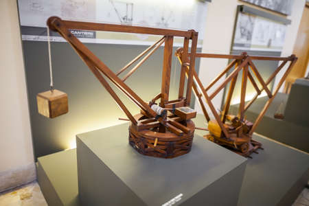 MILAN, ITALY - JUNE 9, 2016: models of Leonardo da Vincis scientific studies displayed at the Science and Technology Museum Leonardo da Vinci