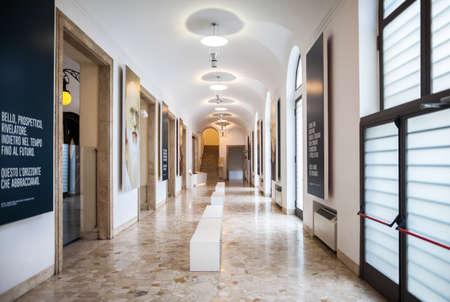 empty room: MILAN, ITALY - JUNE 9, 2016: the corridor of Science and Technology Museum Leonardo da Vinci Editorial