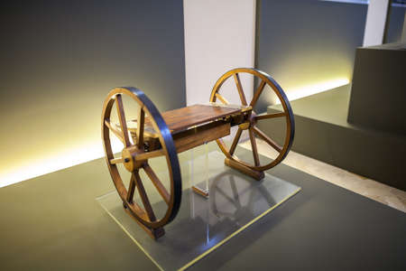 science scientific: MILAN, ITALY - JUNE 9, 2016: axle on rollers model of Leonardo da Vincis scientific studies displayed at the Science and Technology Museum Leonardo da Vinci