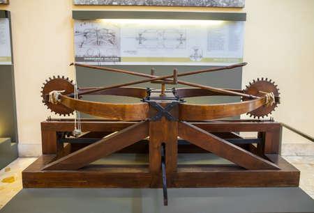 leonardo davinci: MILAN, ITALY - JUNE 9, 2016: double sling models of Leonardo da Vincis scientific studies displayed at the Science and Technology Museum Leonardo da Vinci