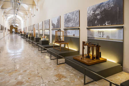 leonardo da vinci: MILAN, ITALY - JUNE 9, 2016: models of Leonardo da Vincis scientific studies displayed at the Science and Technology Museum Leonardo da Vinci