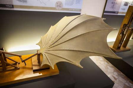 leonardo davinci: MILAN, ITALY - JUNE 9, 2016: beating wings models of Leonardo da Vincis scientific studies displayed at the Science and Technology Museum Leonardo da Vinci