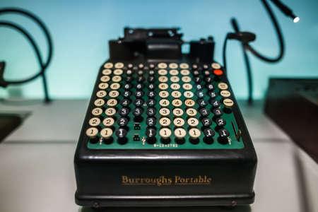 leonardo da vinci: MILAN, ITALY - JUNE 9, 2016: retro typewriter at the Science and Technology Museum Leonardo da Vinci Editorial