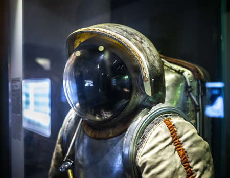 popular science: MILAN, ITALY - JUNE 9, 2016: astronaut spacesuit at the Science and Technology Museum Leonardo da Vinci