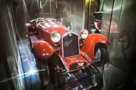 MILAN, ITALY - JUNE 9, 2016: retro car Alfa Romeo at the Science and Technology Museum Leonardo da Vinci Editorial