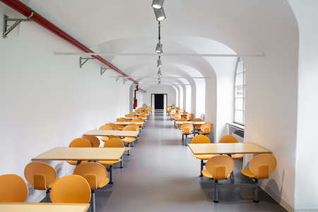 MILAN, ITALY - JUNE 9, 2016: empty canteen at the Science and Technology Museum Leonardo da Vinci Editorial