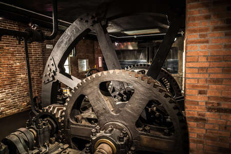 vinci: MILAN, ITALY - JUNE 9, 2016: old factory exhibition at the Science and Technology Museum Leonardo da Vinci